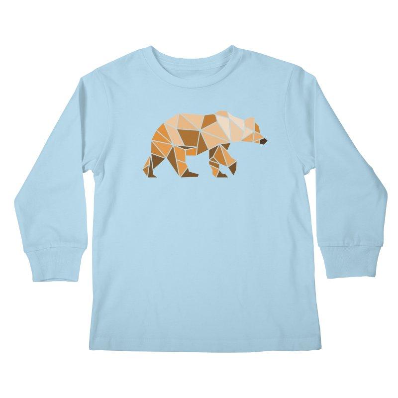 Geometric Grizzly Kids Longsleeve T-Shirt by WaWaTees Shop