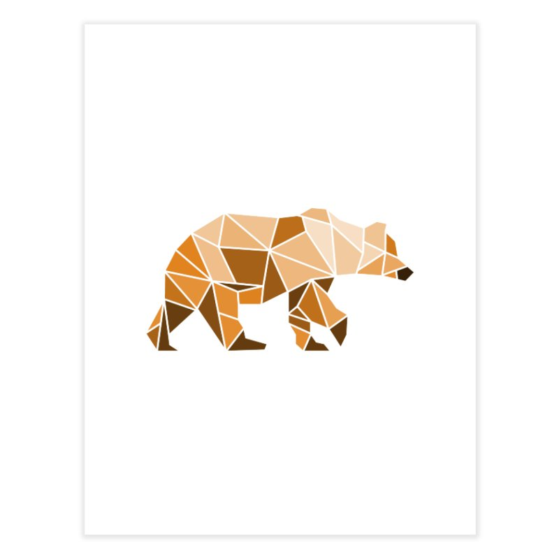Geometric Grizzly Home Fine Art Print by WaWaTees Shop