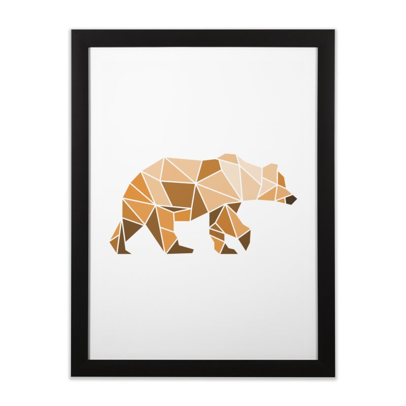 Geometric Grizzly Home Framed Fine Art Print by WaWaTees Shop