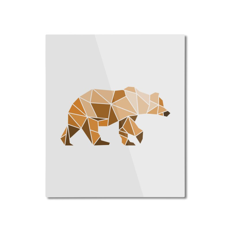 Geometric Grizzly Home Mounted Aluminum Print by WaWaTees Shop