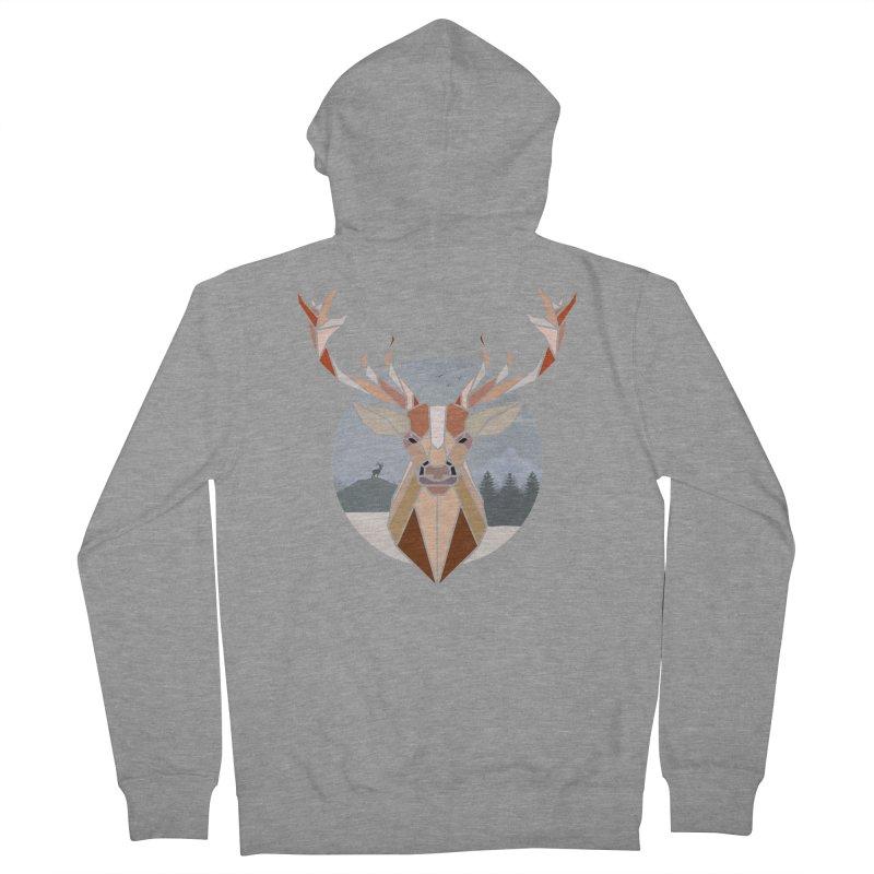 Polygonal Deer Head Men's Zip-Up Hoody by WaWaTees Shop