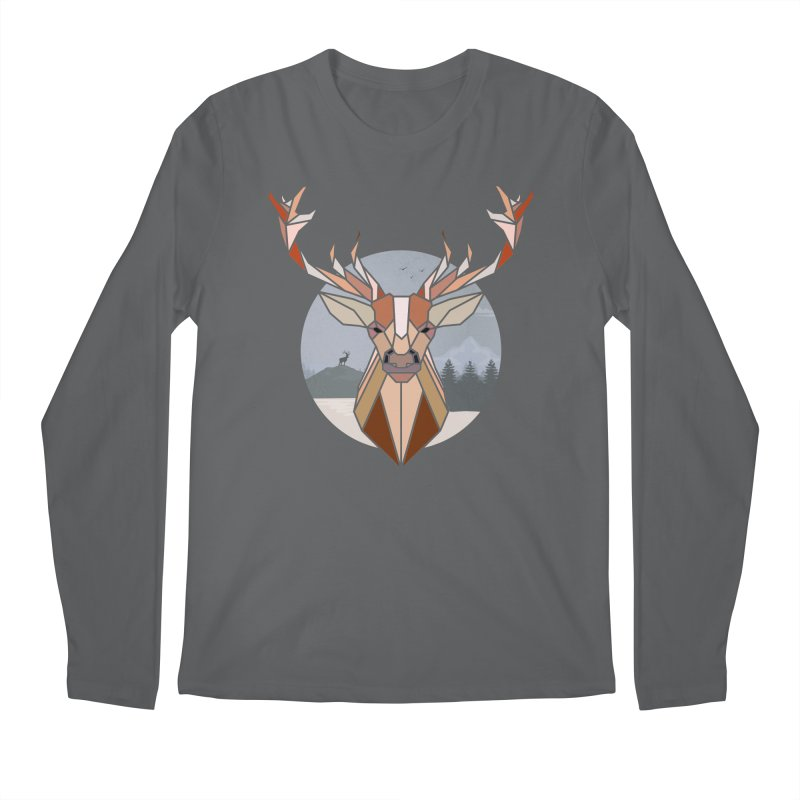 Polygonal Deer Head Men's Longsleeve T-Shirt by WaWaTees Shop