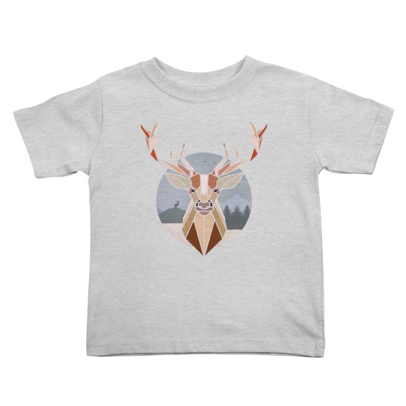Polygonal Deer Head Kids Toddler T-Shirt by WaWaTees Shop