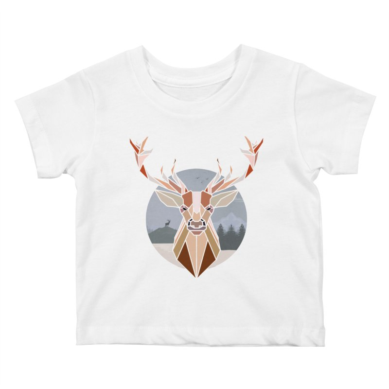 Polygonal Deer Head Kids Baby T-Shirt by WaWaTees Shop