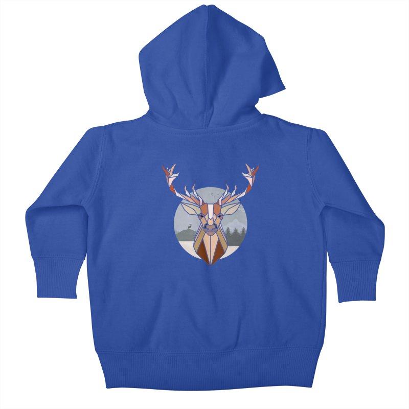 Polygonal Deer Head Kids Baby Zip-Up Hoody by WaWaTees Shop