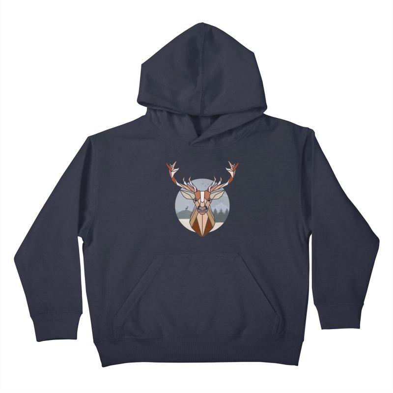 Polygonal Deer Head Kids Pullover Hoody by WaWaTees Shop