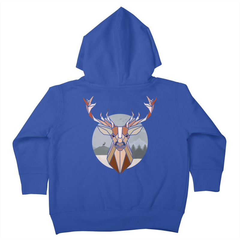 Polygonal Deer Head Kids Toddler Zip-Up Hoody by WaWaTees Shop