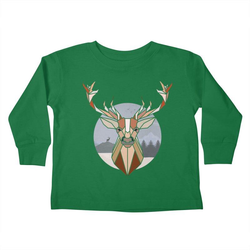 Polygonal Deer Head Kids Toddler Longsleeve T-Shirt by WaWaTees Shop