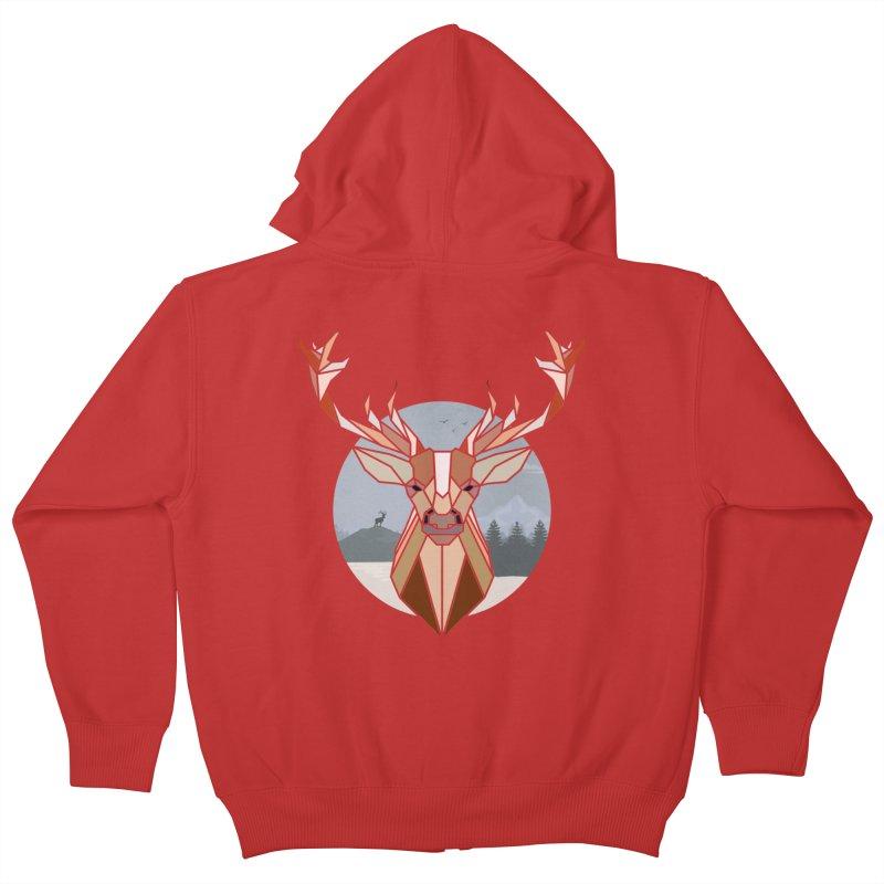 Polygonal Deer Head Kids Zip-Up Hoody by WaWaTees Shop