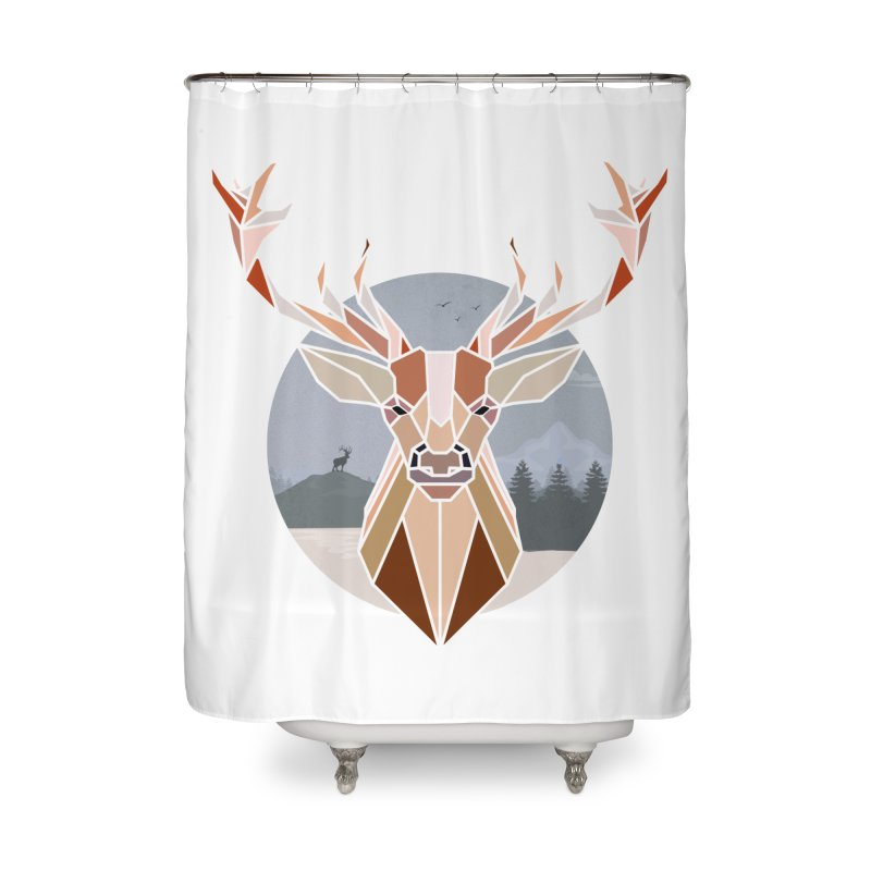 Polygonal Deer Head Home Shower Curtain by WaWaTees Shop