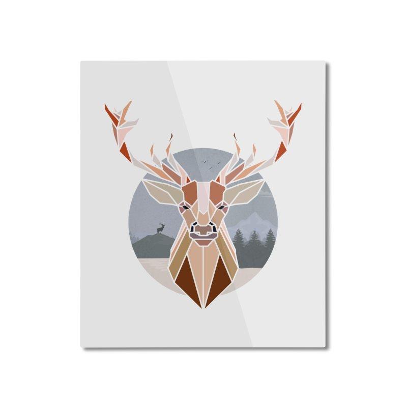 Polygonal Deer Head Home Mounted Aluminum Print by WaWaTees Shop