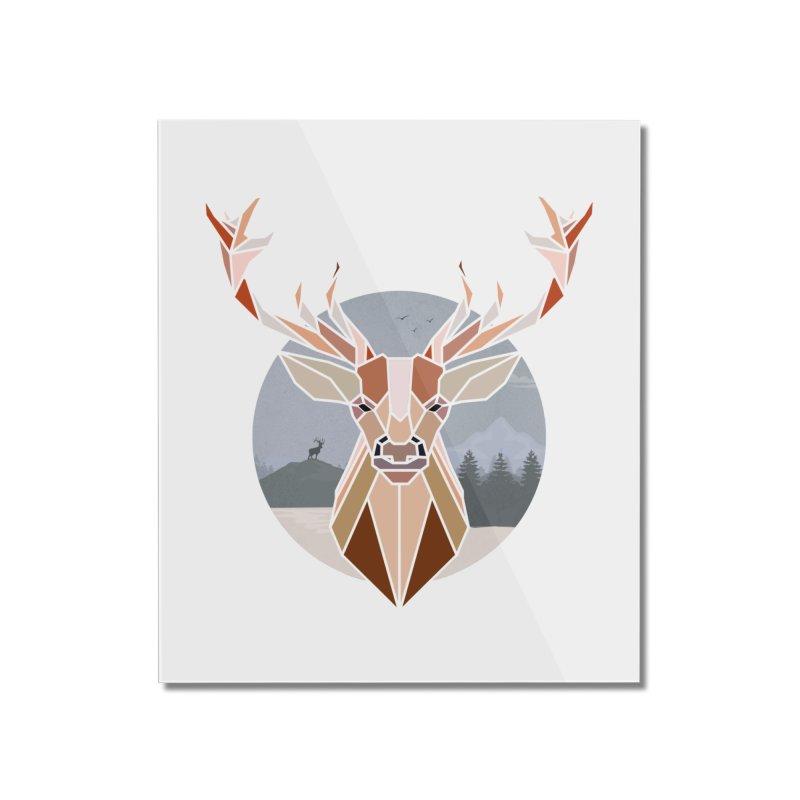 Polygonal Deer Head Home Mounted Acrylic Print by WaWaTees Shop