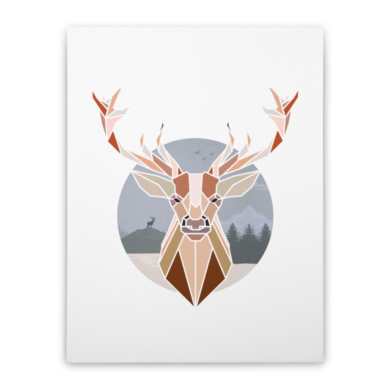 Polygonal Deer Head Home Stretched Canvas by WaWaTees Shop