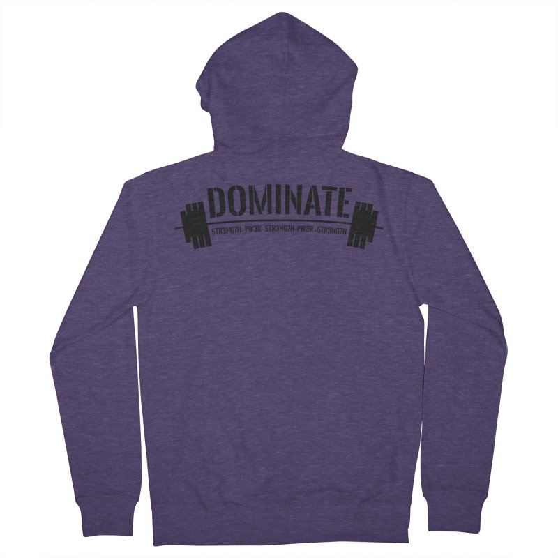 Dominate Gym (Black) Men's French Terry Zip-Up Hoody by WaWaTees Shop