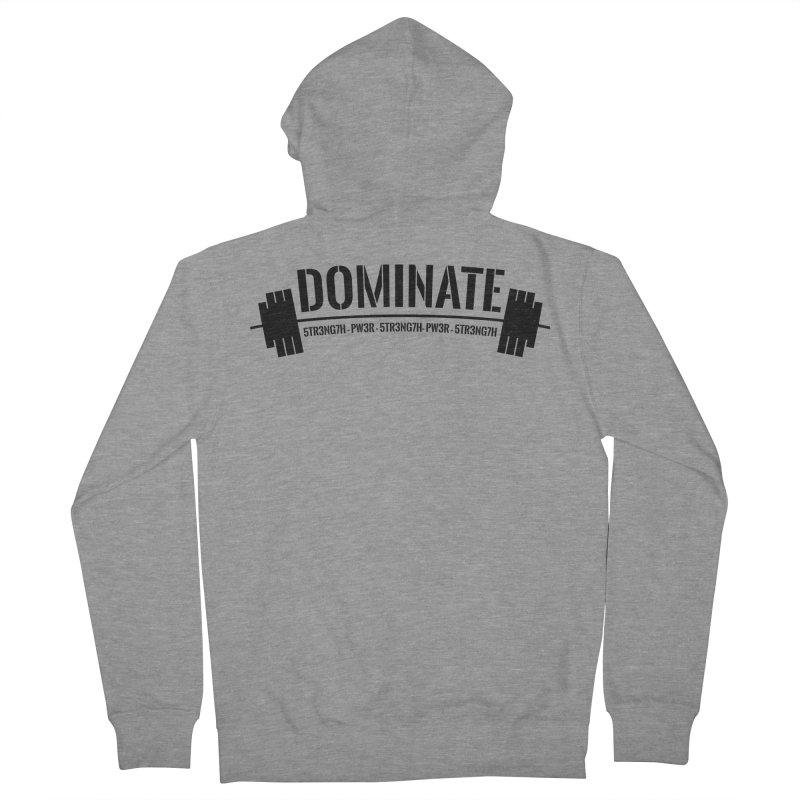 Dominate Gym (Black) Men's Zip-Up Hoody by WaWaTees Shop