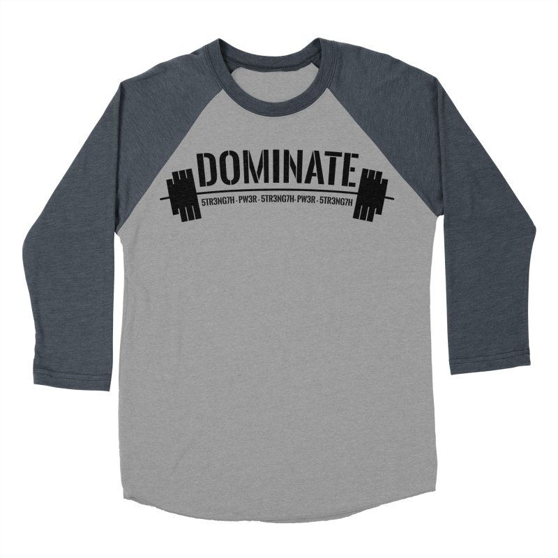 Dominate Gym (Black) Men's Baseball Triblend Longsleeve T-Shirt by WaWaTees Shop