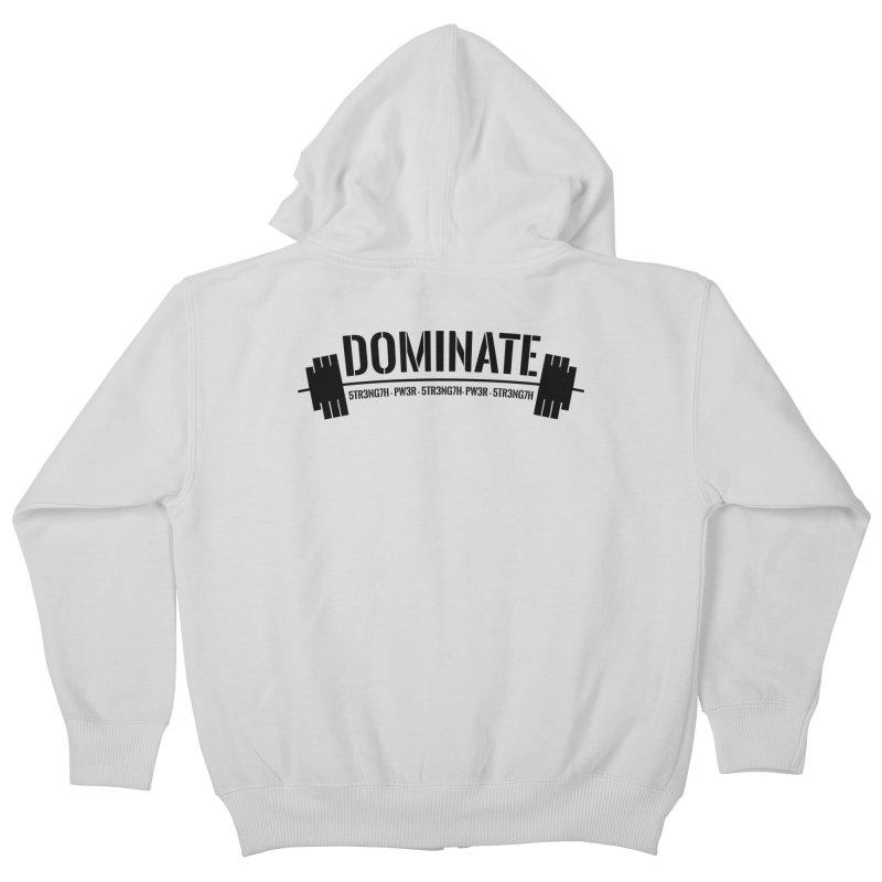 Dominate Gym (Black) Kids Zip-Up Hoody by WaWaTees Shop