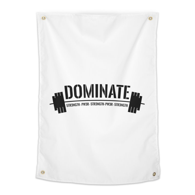 Dominate Gym (Black) Home Tapestry by WaWaTees Shop