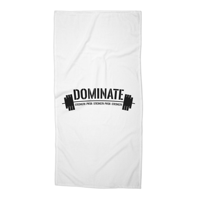 Dominate Gym (Black) Accessories Beach Towel by WaWaTees Shop
