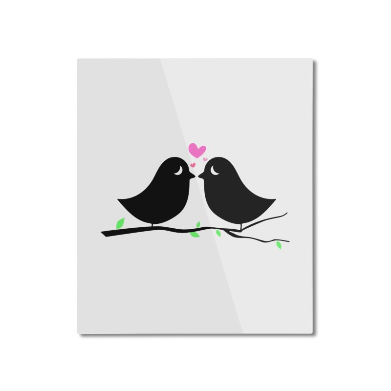 Love Birds Home Mounted Aluminum Print by WaWaTees Shop