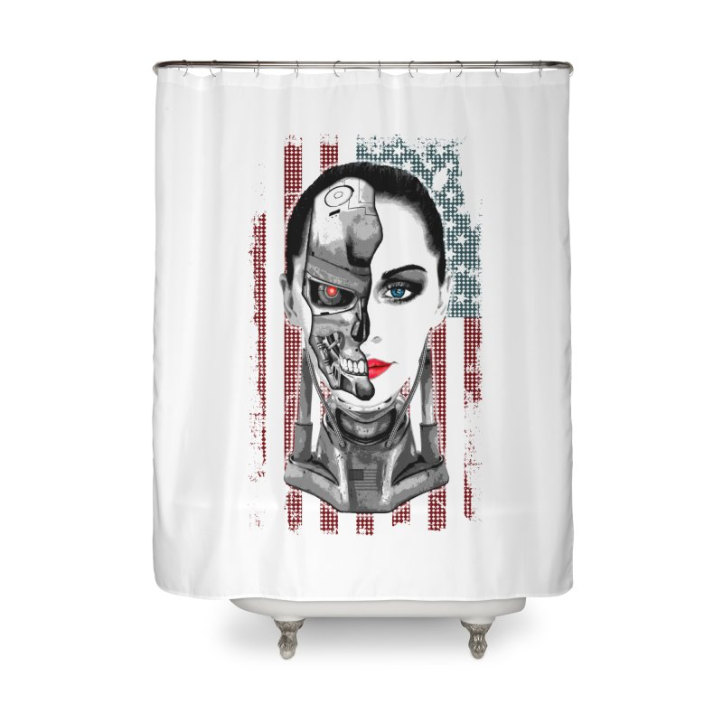 Cyborg Trophy Home Shower Curtain by WaWaTees Shop
