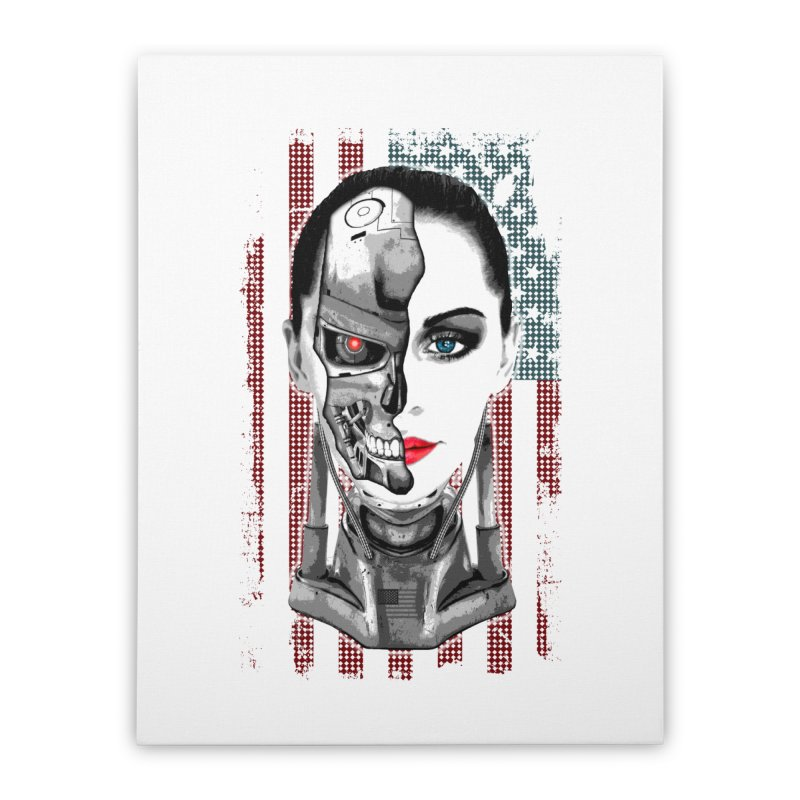 Cyborg Trophy Home Stretched Canvas by WaWaTees Shop