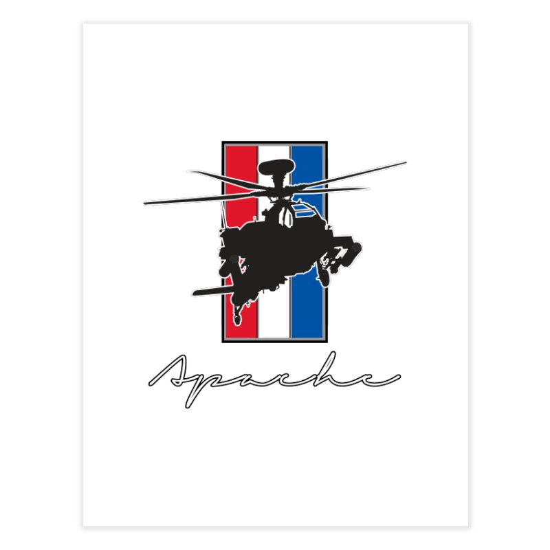 Apache Helicopter Home Fine Art Print by WaWaTees Shop