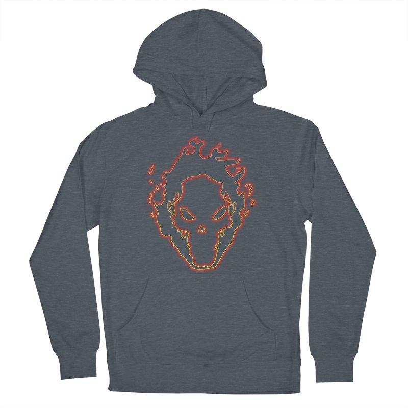 Flaming Skull Men's Pullover Hoody by WaWaTees Shop
