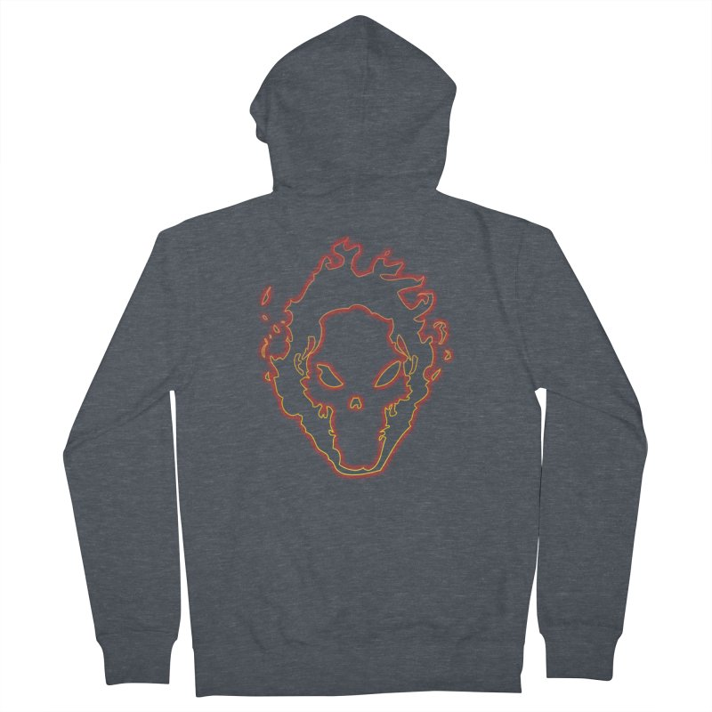 Flaming Skull Men's Zip-Up Hoody by WaWaTees Shop
