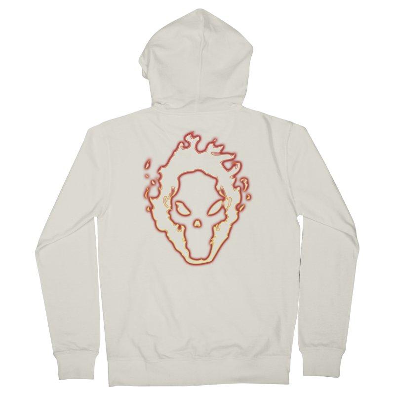 Flaming Skull Men's Zip-Up Hoody by WaWaTees Shop