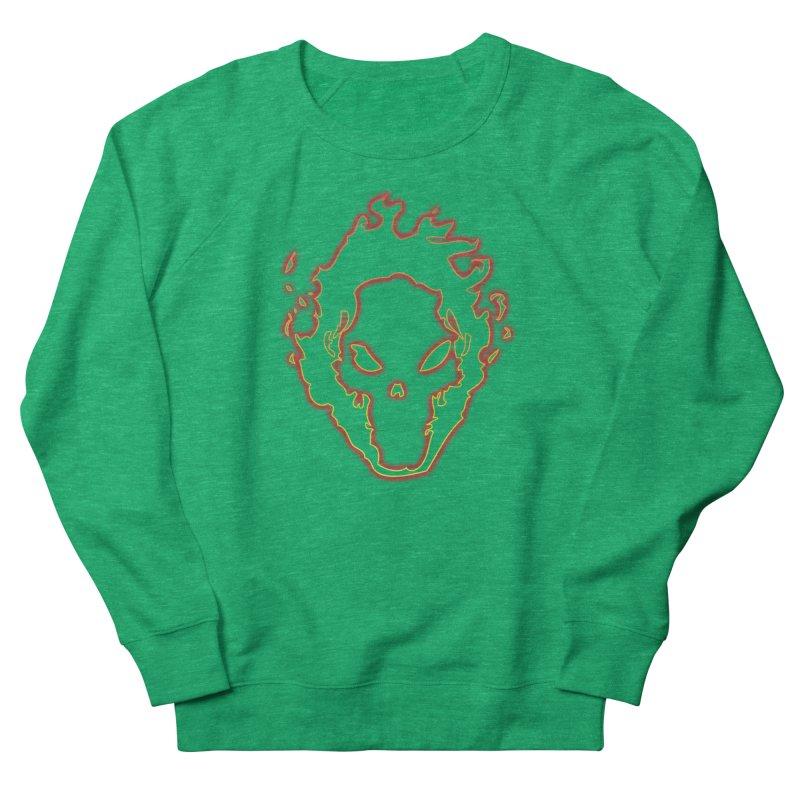 Flaming Skull Men's Sweatshirt by WaWaTees Shop