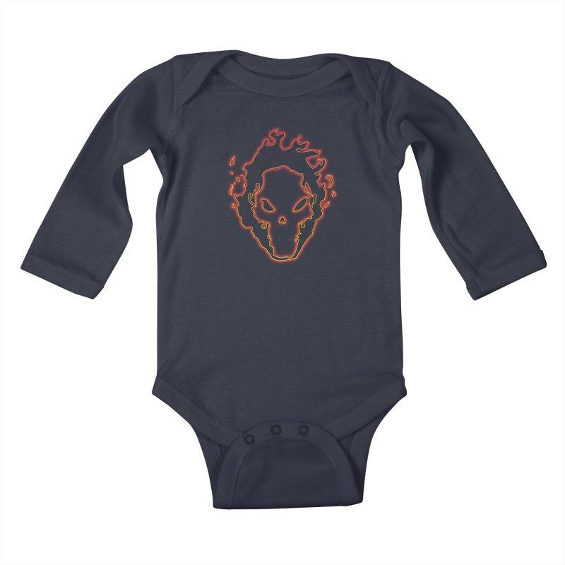 Flaming Skull Kids Baby Longsleeve Bodysuit by WaWaTees Shop