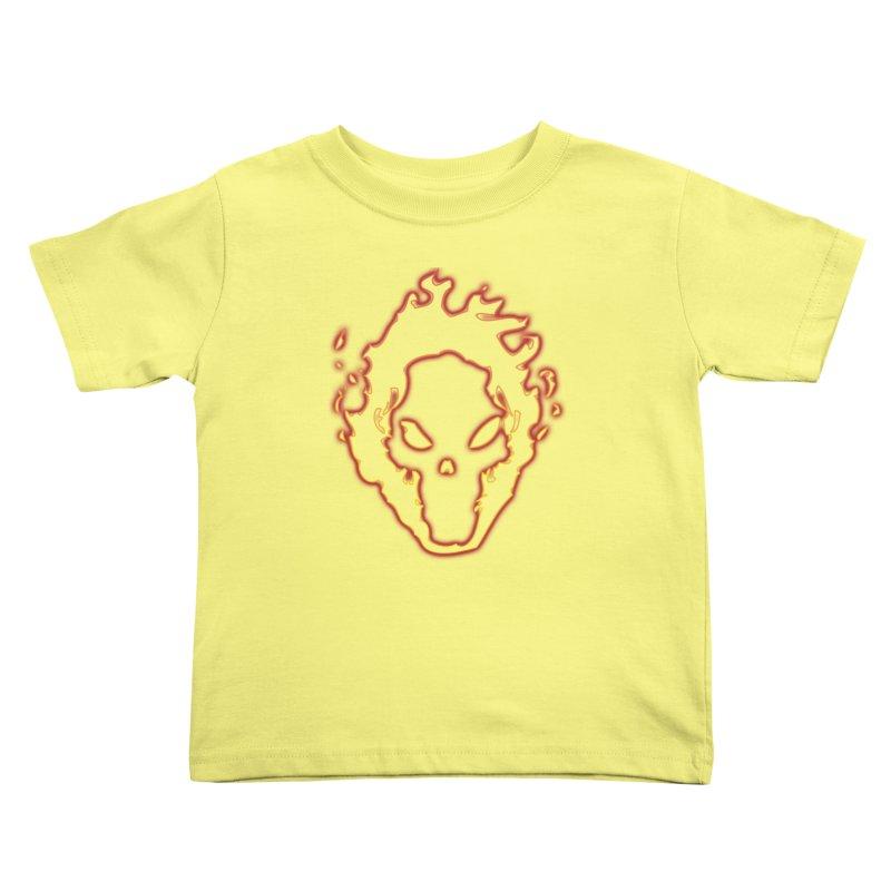 Flaming Skull Kids Toddler T-Shirt by WaWaTees Shop
