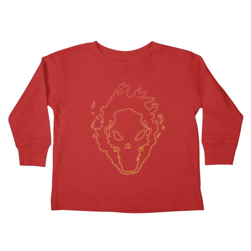 Flaming Skull Kids Toddler Longsleeve T-Shirt by WaWaTees Shop