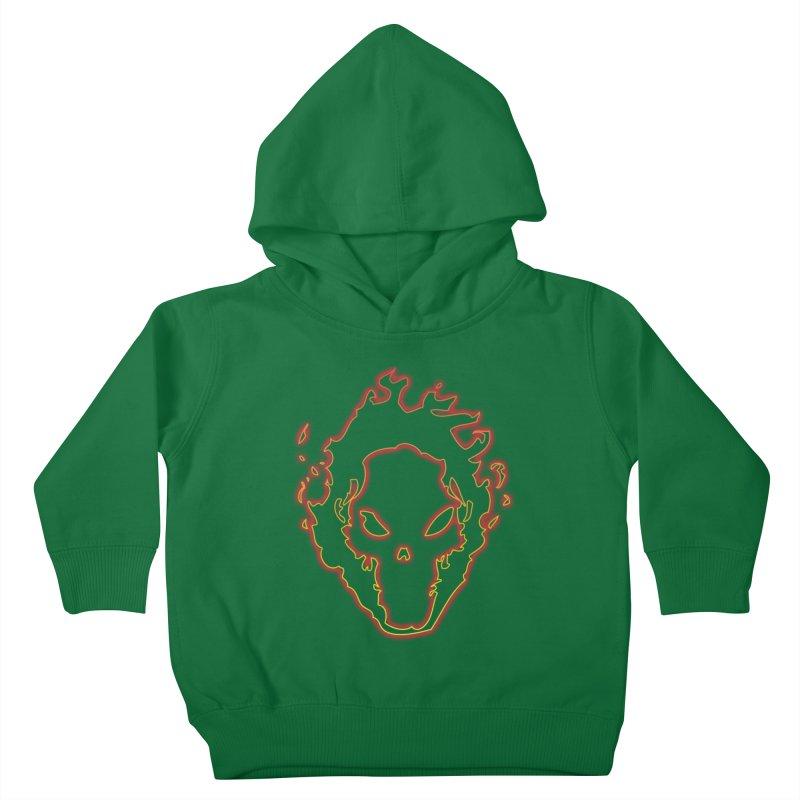 Flaming Skull Kids Toddler Pullover Hoody by WaWaTees Shop