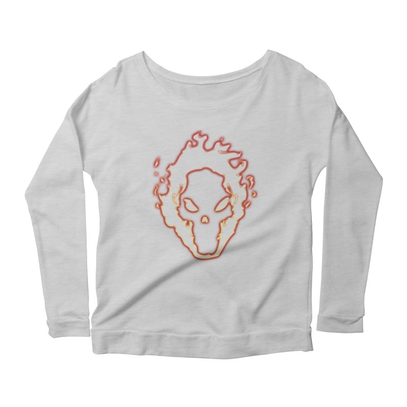 Flaming Skull Women's Longsleeve Scoopneck  by WaWaTees Shop