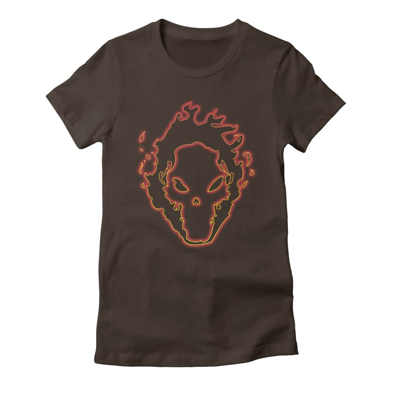 Flaming Skull Women's Fitted T-Shirt by WaWaTees Shop