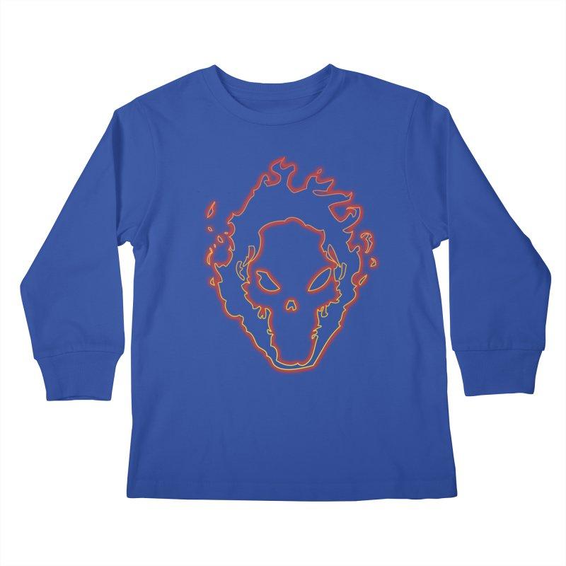 Flaming Skull Kids Longsleeve T-Shirt by WaWaTees Shop
