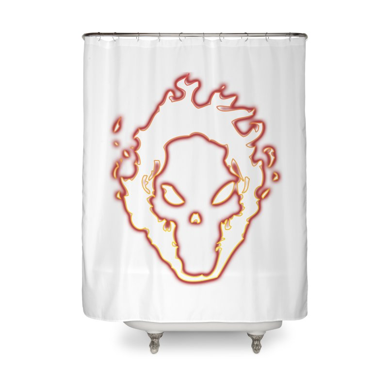 Flaming Skull Home Shower Curtain by WaWaTees Shop