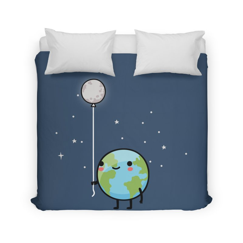 Earth & Moon Home Duvet by wawawiwadesign's Artist Shop