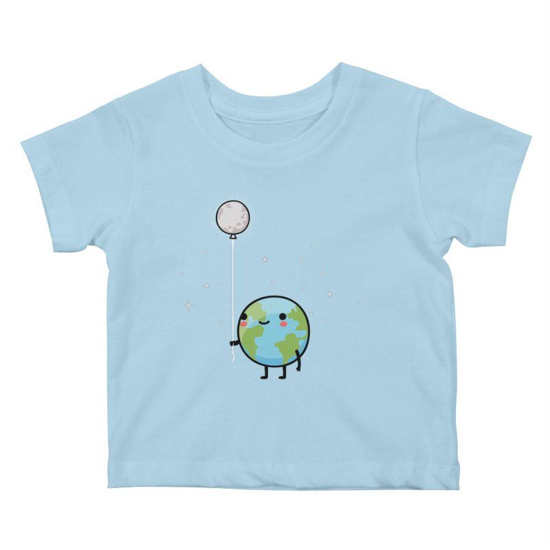 Earth & Moon Kids Baby T-Shirt by wawawiwadesign's Artist Shop