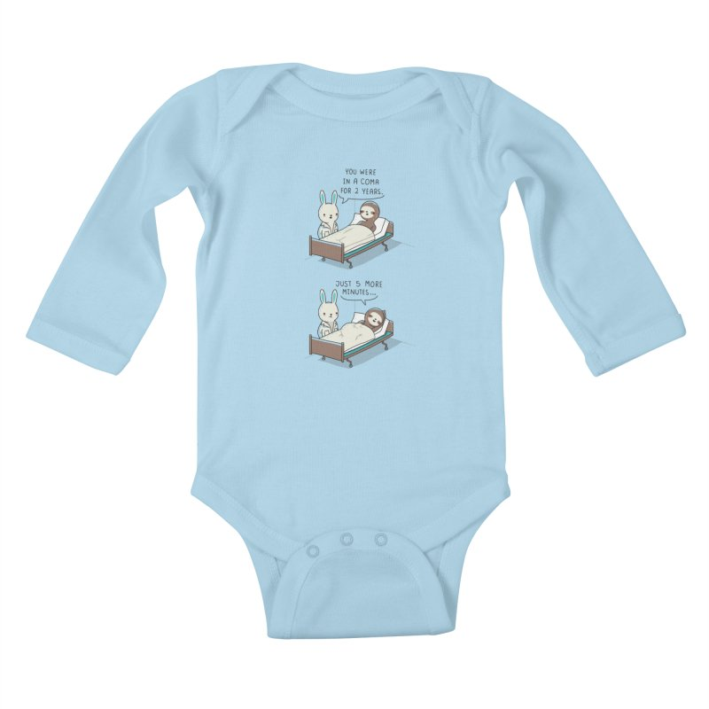 5 more minutes Kids Baby Longsleeve Bodysuit by wawawiwadesign's Artist Shop