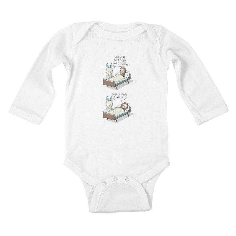 5 more minutes Kids Baby Longsleeve Bodysuit by wawawiwadesign's Artist Shop