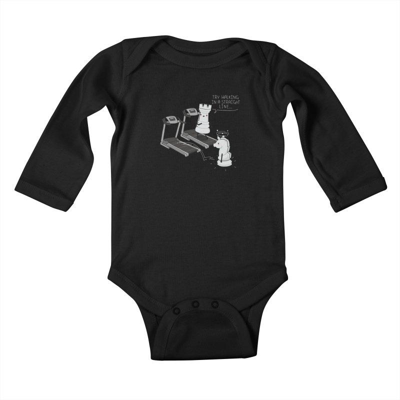 In a straight line Kids Baby Longsleeve Bodysuit by wawawiwadesign's Artist Shop