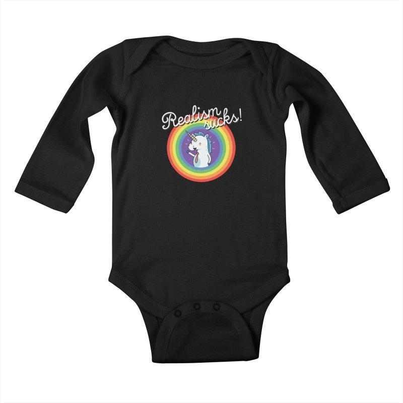Realism sucks Kids Baby Longsleeve Bodysuit by wawawiwadesign's Artist Shop