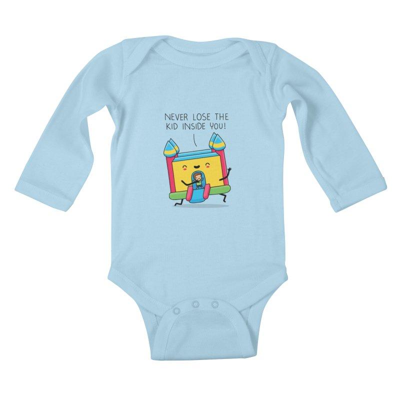 The kid inside you Kids Baby Longsleeve Bodysuit by wawawiwadesign's Artist Shop