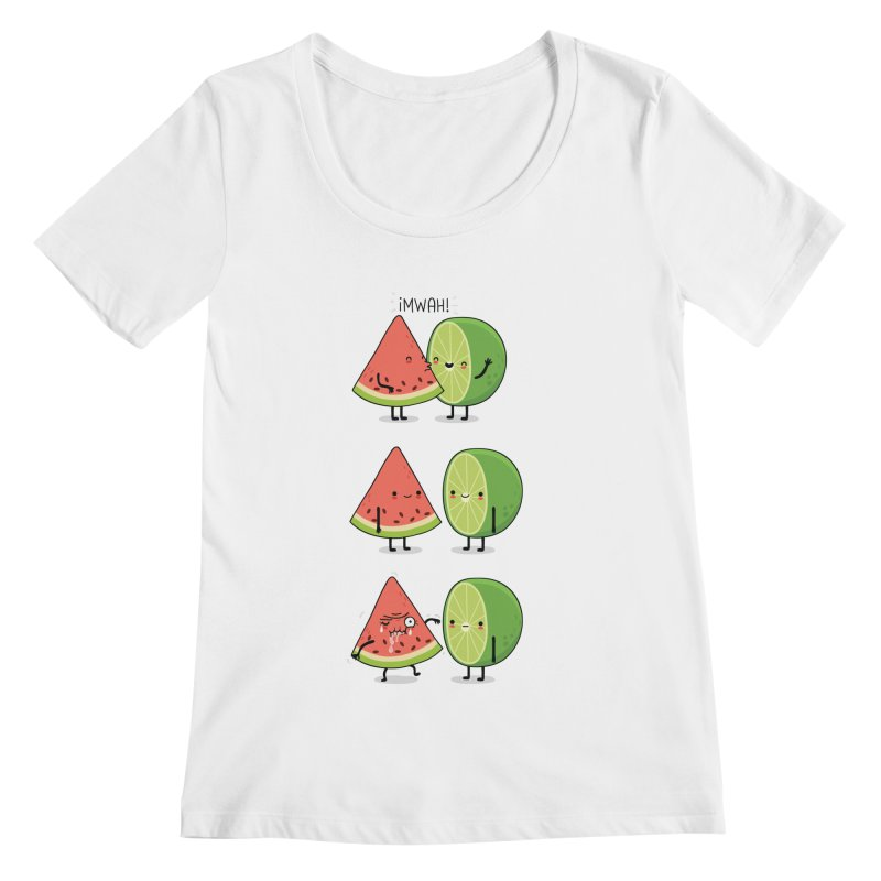 The first kiss Women's Scoopneck by wawawiwadesign's Artist Shop