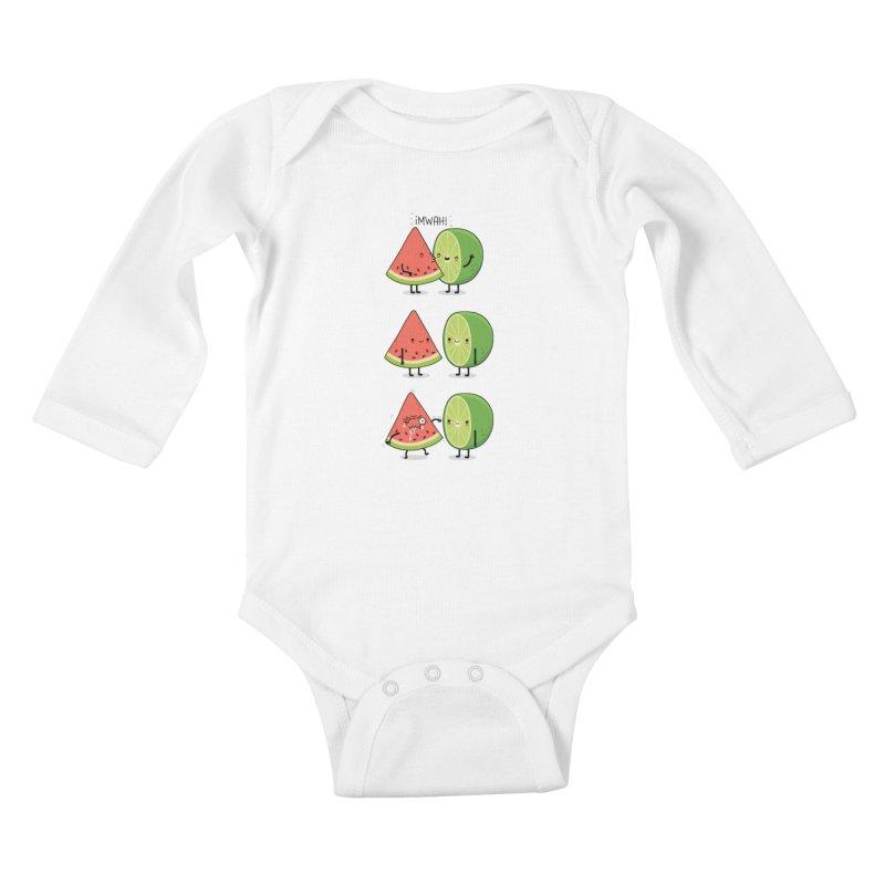 The first kiss Kids Baby Longsleeve Bodysuit by wawawiwadesign's Artist Shop