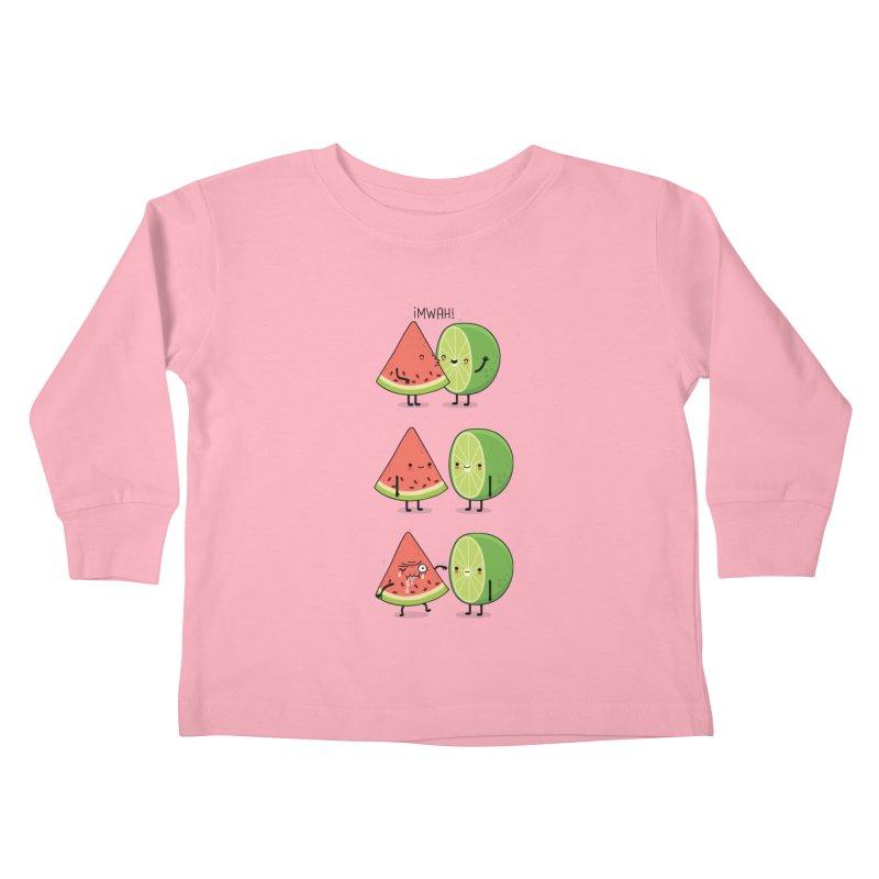 The first kiss Kids Toddler Longsleeve T-Shirt by wawawiwadesign's Artist Shop