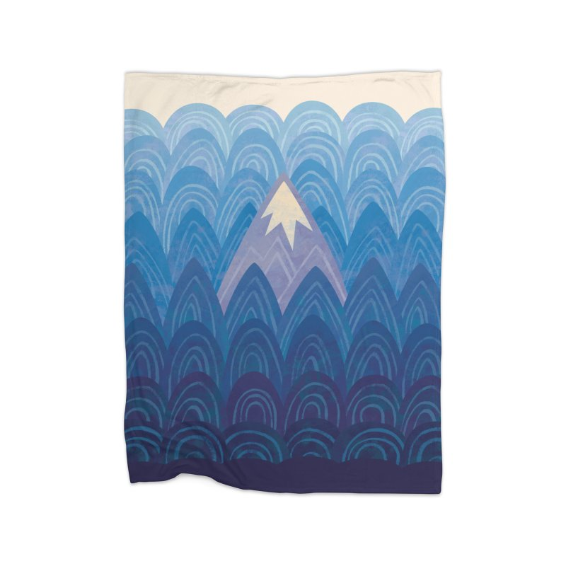 Towering Mountain : blue Home Fleece Blanket Blanket by Waynem